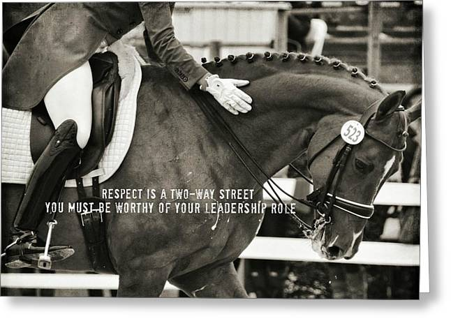 Greeting Card featuring the photograph #523 Turning Out Quote by Dressage Design