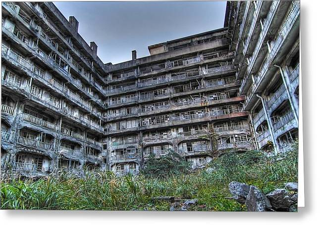 56197 Abandoned Places Abandoned Apartment Building Greeting Card by F S