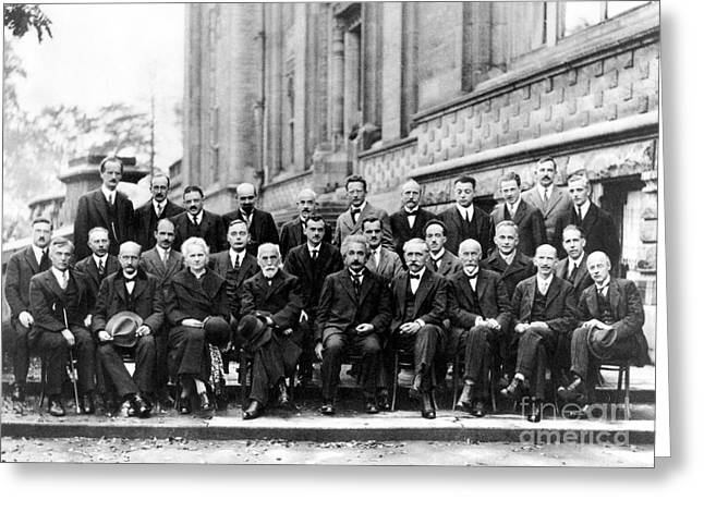 5th Solvay Conference Of 1927 Greeting Card by Science Source