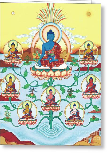8 Medicine Buddhas Greeting Card by Carmen Mensink