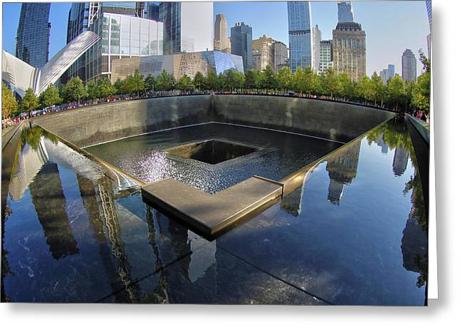 Greeting Card featuring the photograph 9/11 Memorial by Mitch Cat