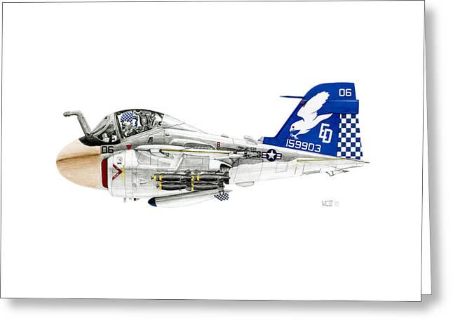 A-6e Intruder Caricature Greeting Card