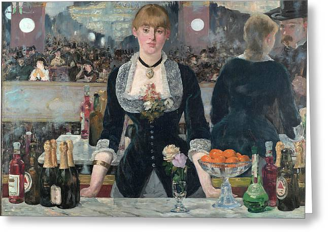A Bar At The Folies-bergere Greeting Card by Edouard Manet