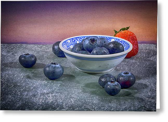 A Bowl Of Blueberries Greeting Card by Robert Anastasi