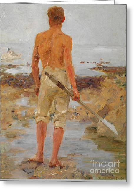 A Boy With An Oar  Greeting Card