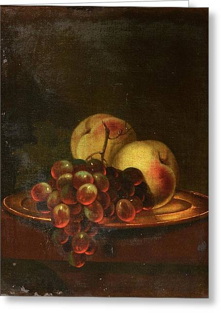 A Brass Platter Of Peaches And Bunch Of Grapes Greeting Card