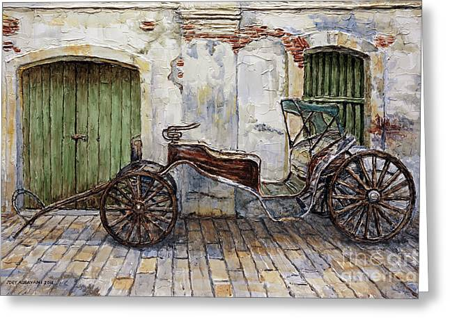 A Carriage On Crisologo Street 2 Greeting Card by Joey Agbayani
