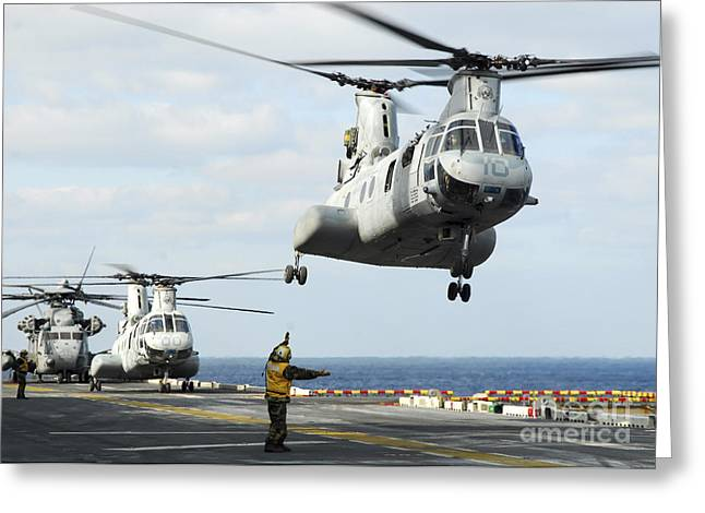 A Ch-46e Sea Knight Helicopter Takes Greeting Card by Stocktrek Images