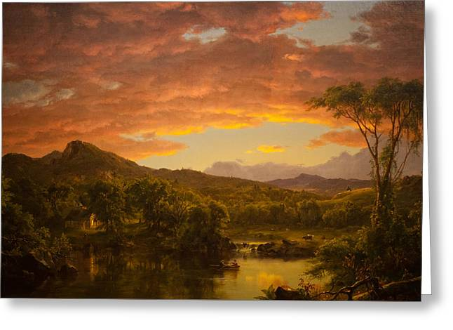 A Country Home Greeting Card by Frederic Edwin Church