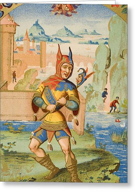 A Court Fool Of The 15th Century. 19th Greeting Card by Vintage Design Pics