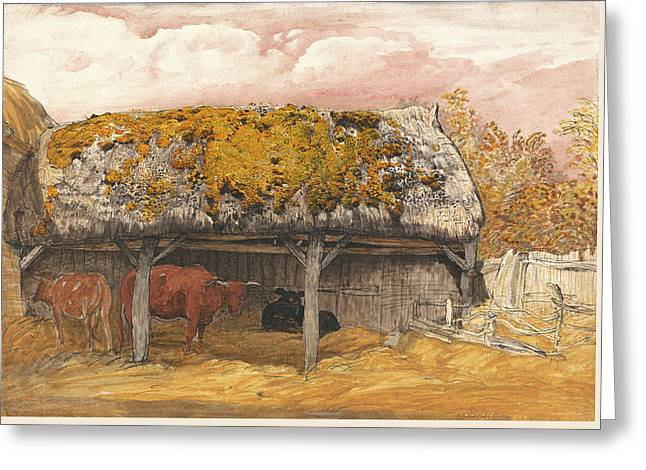 A Cow Lodge With A Mossy Roof Greeting Card