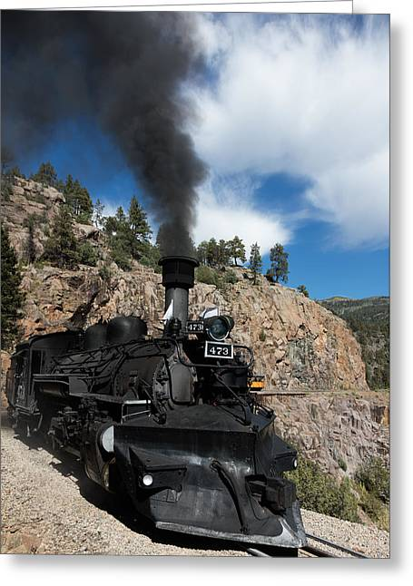 Greeting Card featuring the photograph A Durango And Silverton Narrow Gauge Scenic Railroad Train Chugs Through The San Juan Mountains by Carol M Highsmith