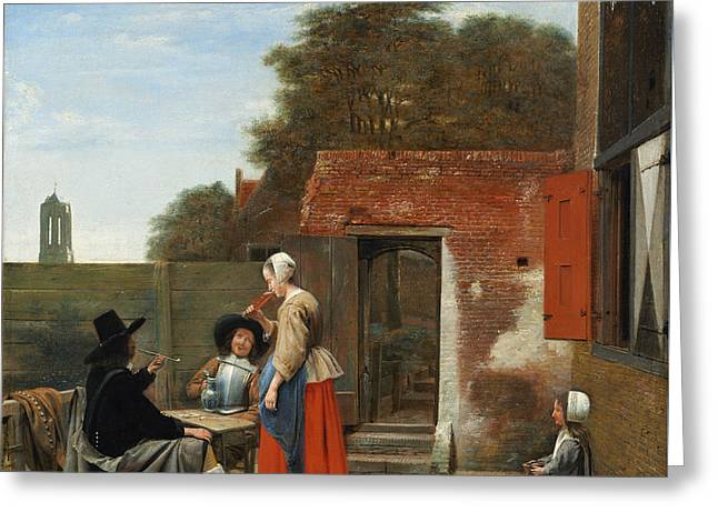 A Dutch Courtyard Greeting Card by Pieter de Hooch