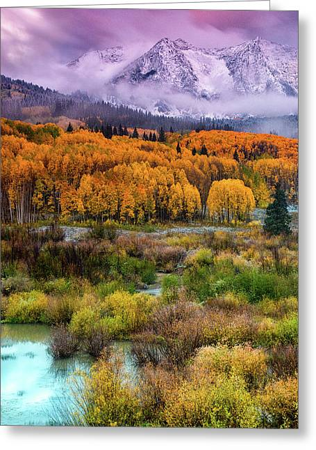 A Fall Snow At Sunrise Greeting Card
