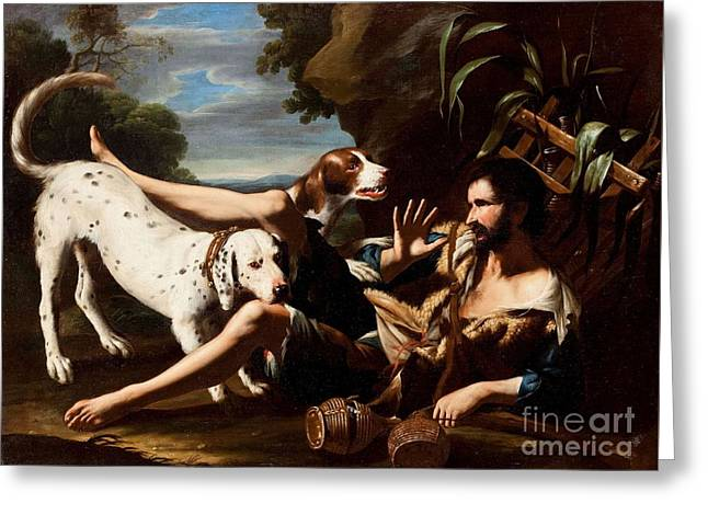 A Flask-bearer Surprised By Two Dogs In A Landscape Greeting Card by MotionAge Designs