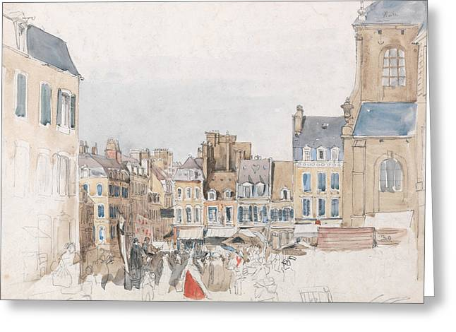 A French Market Place Greeting Card by David Cox