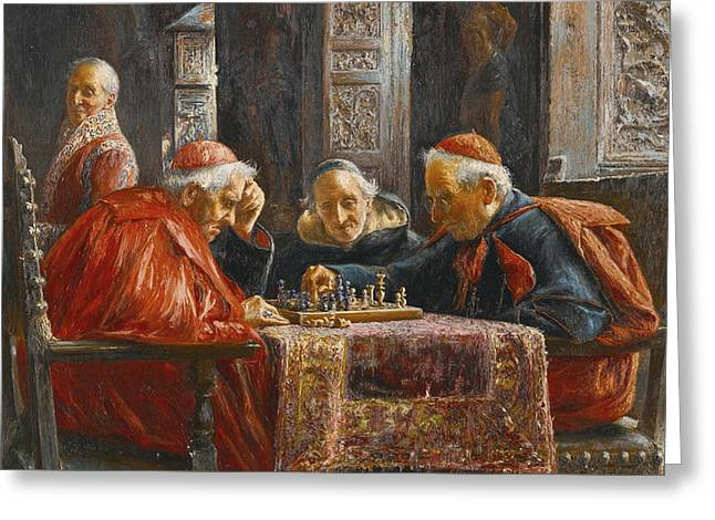 A Game Of Chess Greeting Card by Jose Gallegos