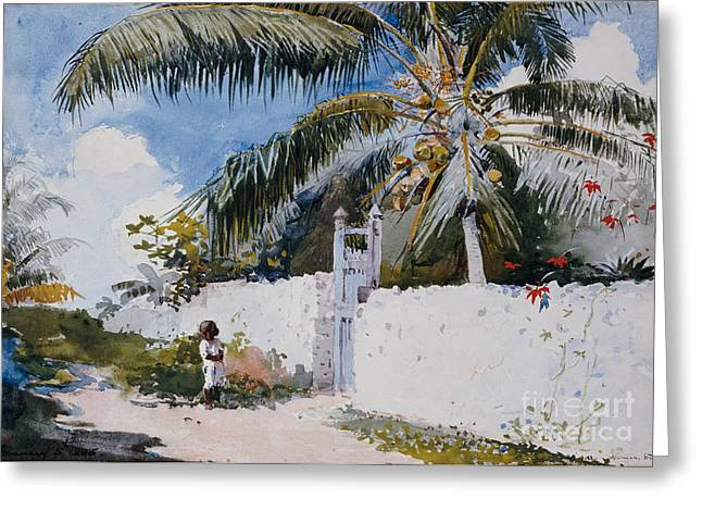 On Paper Paintings Greeting Cards - A Garden in Nassau Greeting Card by Winslow Homer