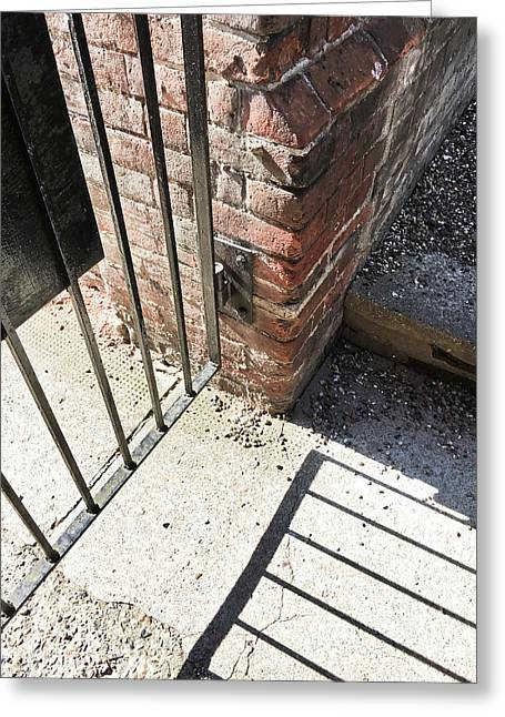 A Gate With Shadows Greeting Card by Tom Gowanlock