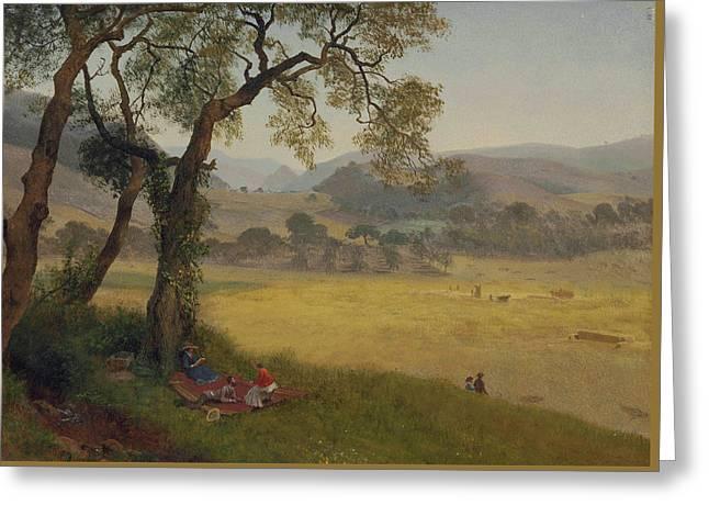 A Golden Summer Day Near Oakland Greeting Card by Albert Bierstadt