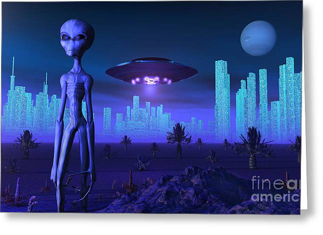 A Grey Alien Located On Its Homeworld Greeting Card by Mark Stevenson