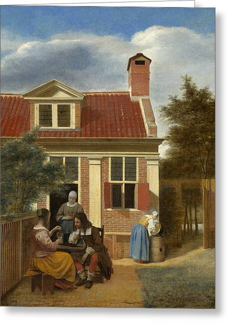 A Group At The Site Behind A House Greeting Card by Pieter de Hooch