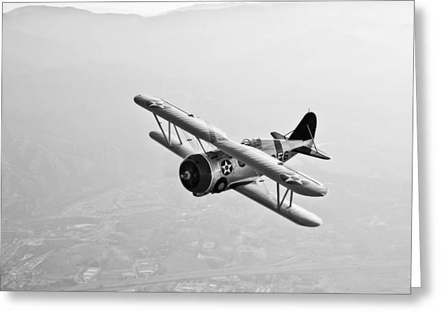 A Grumman F3f Biplane In Flight Greeting Card by Scott Germain