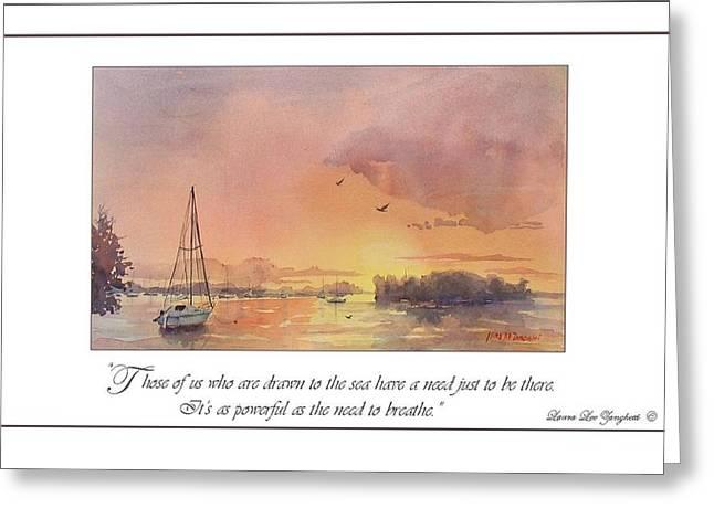A Hingham Sunset Greeting Card by Laura Lee Zanghetti