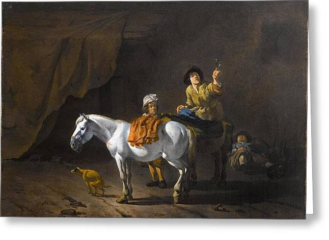 A Horseman Holding A Roemer Of Wine With An Ostler Tending The Horses Greeting Card by MotionAge Designs