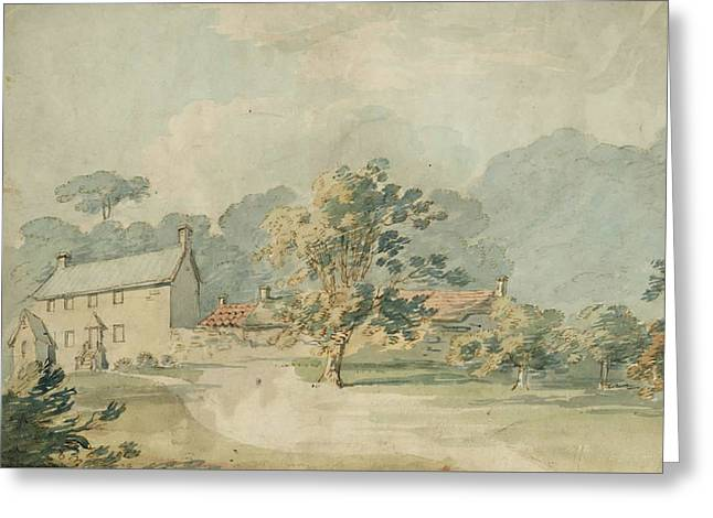 A House With Outbuildings In A Wooded Landscape Greeting Card