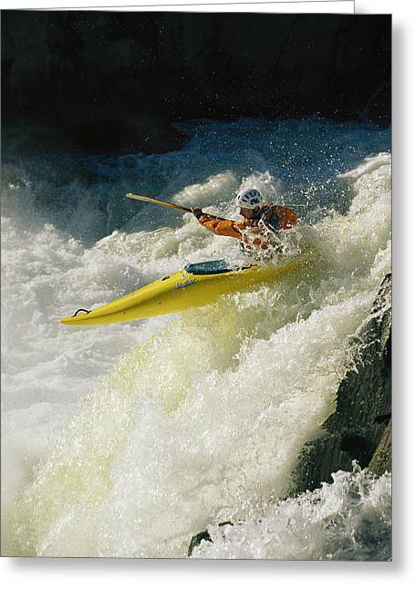 A Kayaker Speeds Down One Of The Falls Greeting Card