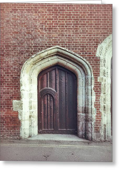 A Medieval Door Greeting Card by Tom Gowanlock