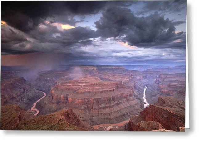 Image Setting Greeting Cards - A Monsoon Storm In The Grand Canyon Greeting Card by David Edwards