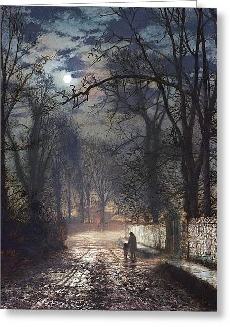A Moonlit Lane Greeting Card