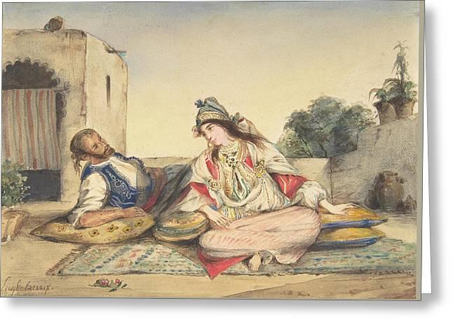 A Moorish Couple On Their Terrace Greeting Card