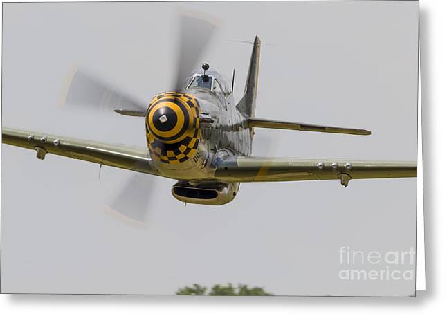 A P-51 Mustang Flies By At East Troy Greeting Card by Rob Edgcumbe