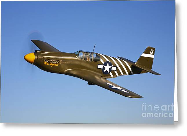 A P-51a Mustang In Flight Greeting Card by Scott Germain