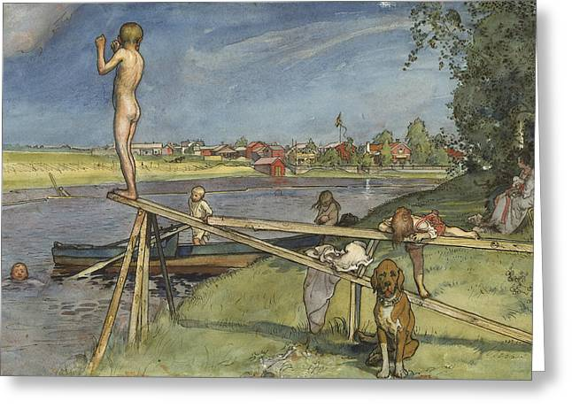 A Pleasant Bathing-place. From A Home Greeting Card by Carl Larsson