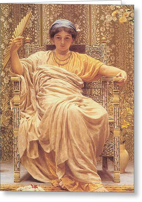 A Revery Greeting Card by Albert Joseph Moore