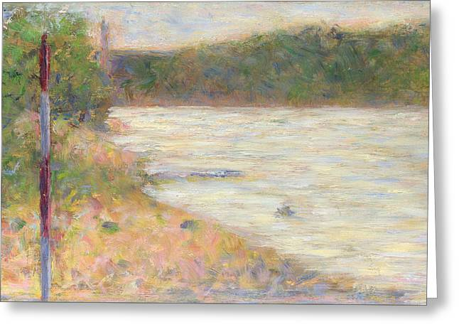 A River Bank The Seine At Asnieres Greeting Card
