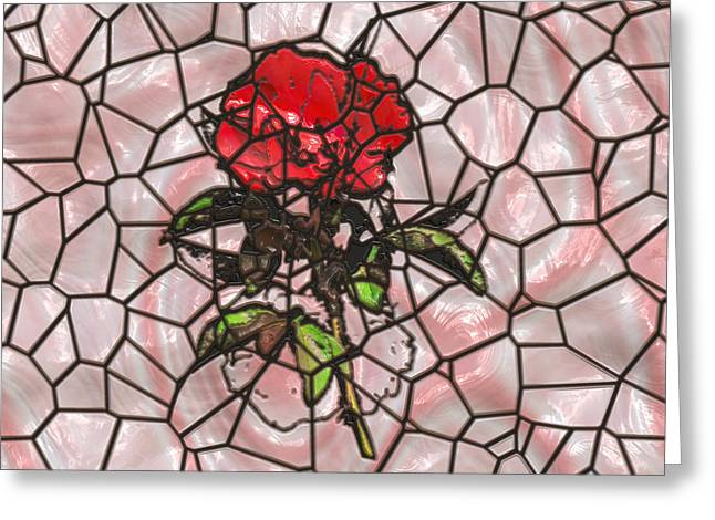 A Rose On Stained Glass Greeting Card by John M Bailey
