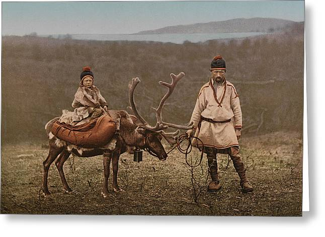 A Sami Man And Child In Finnmark Greeting Card by MotionAge Designs