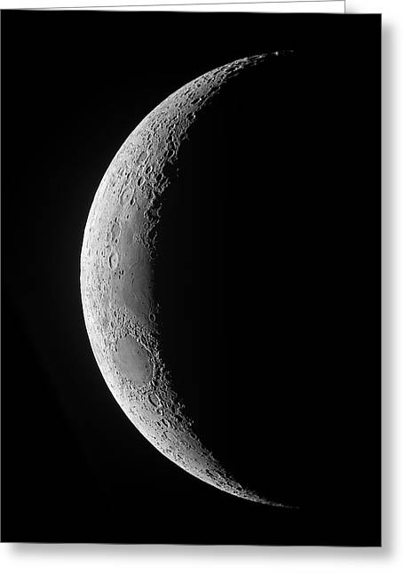 A Saxing Crescent Moon In High Greeting Card by Luis Argerich
