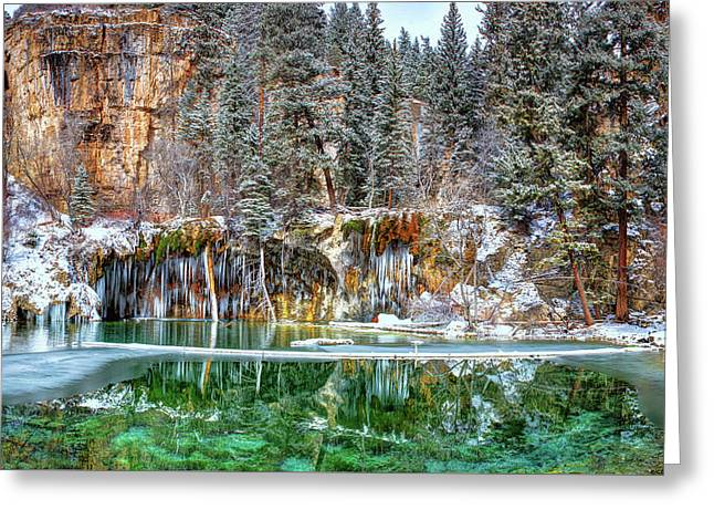 Olena Art Serene Chill Hanging Lake Photograph The Gem Of Glenwood Canyon Colorado Greeting Card