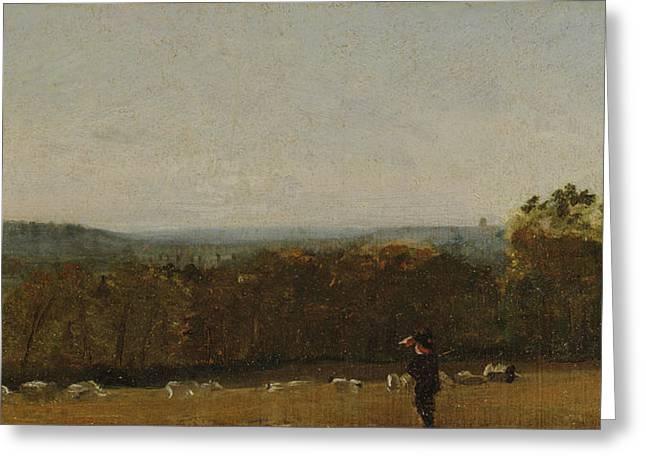 A Shepherd In A Landscape Looking Across Dedham  Greeting Card by John Constable