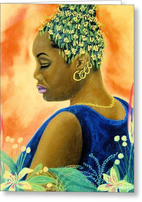 African-americans Pastels Greeting Cards - A Silent Moment Greeting Card by Jan Amiss
