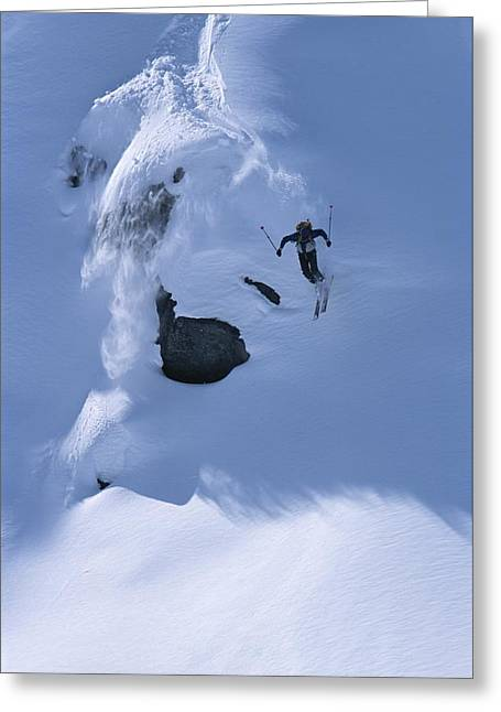 Release Greeting Cards - A Skier In The Selkirk Range, British Greeting Card by Jimmy Chin
