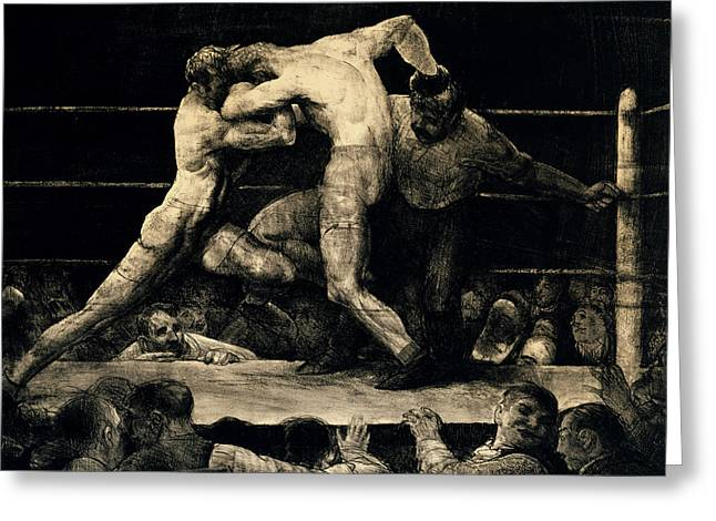A Stag At Sharkey's Greeting Card by George Bellows
