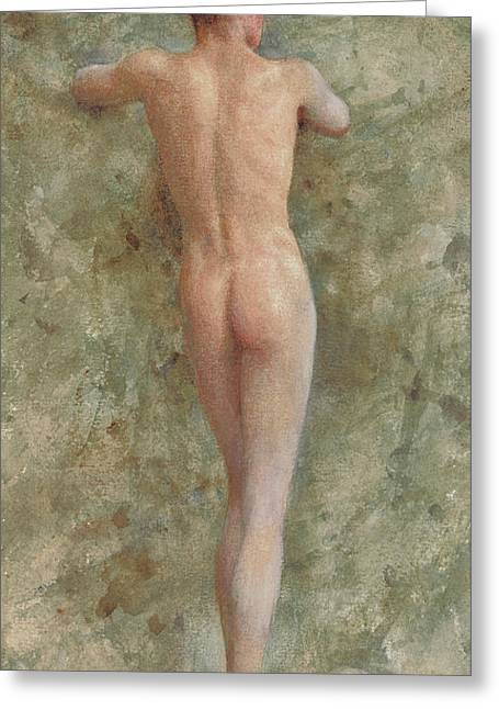 A Standing Male Nude Greeting Card