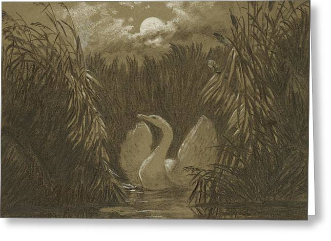 A Swan Among The Reeds, By Moonlight Greeting Card by Carl Gustav Carus
